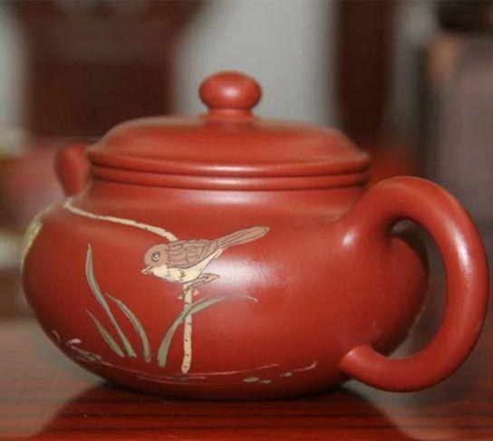 """Китайский чайник """"Птицы в пруду"""" - 175 мл (исинская глина)"""