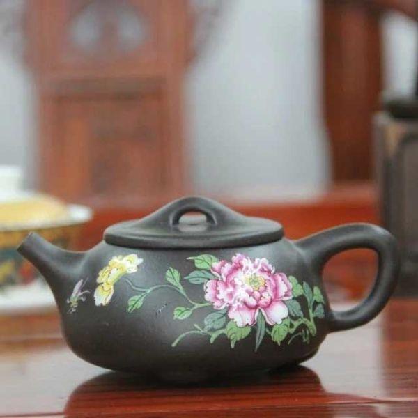 """Исинский чайник - """"Каменная тыква"""" с рисунком пиона, 230 мл"""