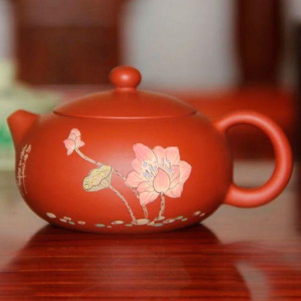 Исинский чайник - классический СиШи с рисунком лотоса, 180 мл