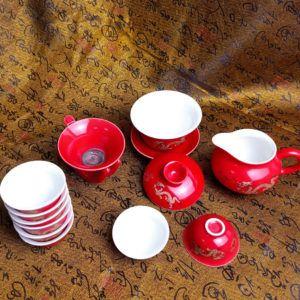 Чайный набор - Золотой дракон 12 приборов | красный
