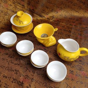 Чайный набор - Золотой дракон 12 приборов | желтый