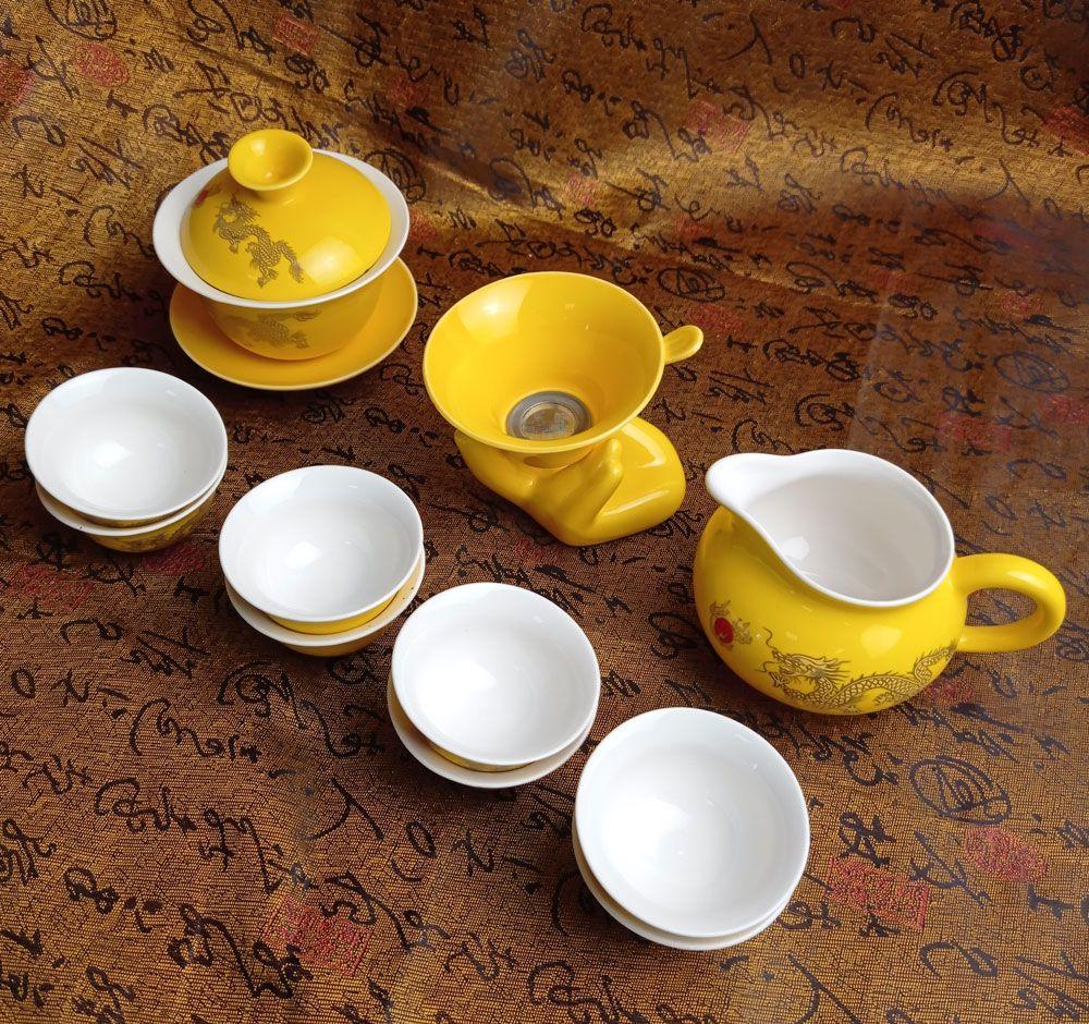 Чайный набор — Золотой дракон 12 приборов | желтый