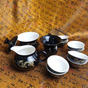 Чайный набор - Золотой дракон 12 приборов | черный